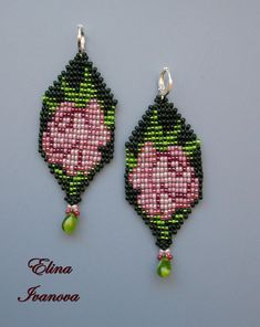 Pink rose flower Beaded earrings  green beadwoven exclusive