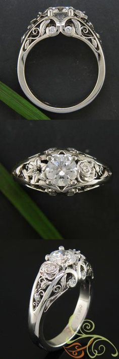 Amazing rose and lily filigree. LOVE the Beauty and the Beast-esque rose. This ring comes straight out of a fairy tale. #engagement #jewelryworks