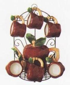 APPLE 9pc TEA Set Pot U0026 Cups W/Iron Rack NEW! , Http: Apple Kitchen DecorCountry  ...