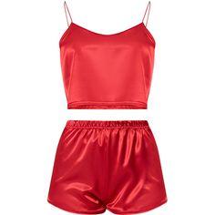 Issie Red Satin Pyjama Shorts Set ($26) ❤ liked on Polyvore featuring intimates, sleepwear, pajamas, satin pajamas, red pjs, red pajamas, satin sleepwear and satin pjs