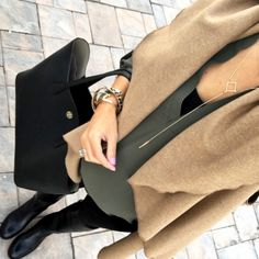 Love this outfit! Olive shirt, black leggings & camel cardigan