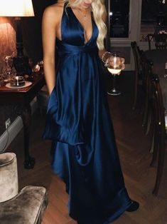 856fc1b7c9b Hot sale sexy halter blue satin prom gowns new fashion with slit
