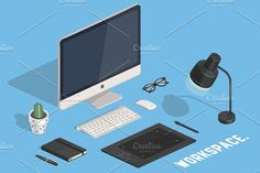 Computer and Tablet. Isometric pic by Natalka Dmitrova on @creativemarket artist, background, business, coffee cup, computer, concept, creative, designer, desk, desktop, digital, equipment, finance, flat, graphic, hipster glasses, icon, illustration, interior, isometric vector, laptop, line, macbook pro, marketing, mobile, modern, notebook, office, pencil, plant, realistic, space, view, web, workplace, workspace, tablet, wacom, cactus, mouse, keyboard, isometric