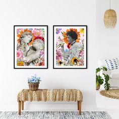 Romantic Collage Art Floral Art Printable Kiss Poster   Etsy Digital Collage, Collage Art, Digital Prints, Printing Services, Online Printing, International Paper Sizes, Art File, Art Floral, Surreal Art