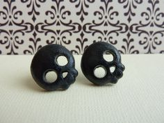 Black Skull Stud Earrings, Polymer Clay Skull Cabochons, Nickel Free Posts on Etsy, $6.00