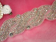 """TS3 (Pieced at 35"""") Wave & Rhinestones Silver Beaded Crystal Clear Rhinestone Trim"""