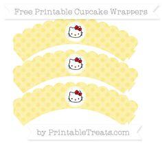 Free Pastel Yellow Polka Dot  Hello Kitty Scalloped Cupcake Wrappers