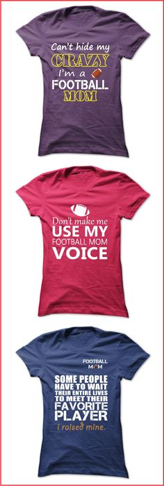 Are you a football mom? Show your pride with one of these cool football mom shirts. T-shirts and hoodies are available in a variety of colors and styles. See the full collection here: https://www.sunfrog.com/dmh0226/football-mom-shirts