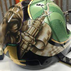 Badass Motorcycle Art with Gasolineart Classic Motorcycle Helmet, Motorcycle Helmets, Helmet Paint, Custom Airbrushing, Custom Helmets, Air Brush Painting, Kustom Kulture, Airbrush Art, Pinstriping