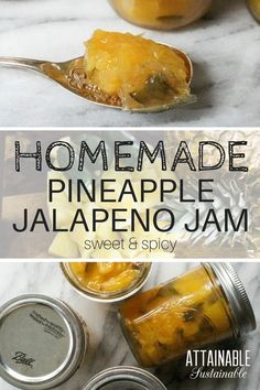 This pineapple jam recipe with jalapeños is sweet and savory. Serve this jam as a topping for fish or chicken, or paired with cream cheese on crackers. Jalapeno Jelly Recipes, Pepper Jelly Recipes, Jalapeno Jam, Canning Jalapeno Peppers, Canning Salsa, Pineapple Jam, Pineapple Recipes, Canning Pineapple