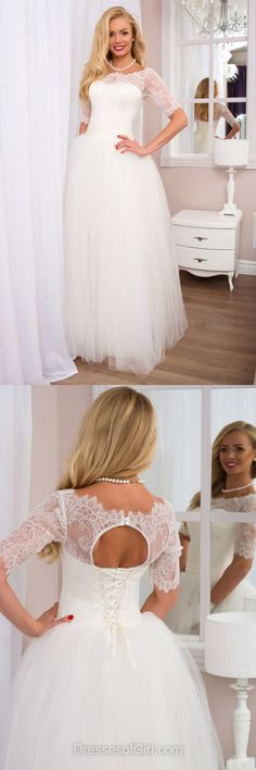 Sweet White Wedding Dresses, A-line Scoop Neck Bridal Gowns, Tulle Long Bridal Dresses, Lace Wedding Dress, 1/2 Sleeve Wedding Dresses