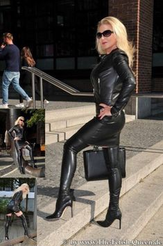 Skirts With Boots, Dress With Boots, Crazy Outfits, Sexy Outfits, Leather Fashion, Fashion Boots, Women's Fashion, Leather Dresses, Thigh High Boots