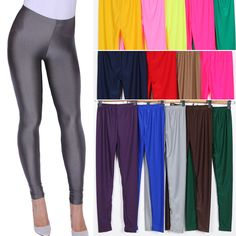 Women's Fashion Skinny Stretch Slim Shiny Leggings Ladies Long Pencil Pants Lot #Unbranded