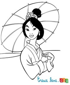 Fa Mulan Holds An Umbrella Coloring Page From Category Select 28170 Printable Crafts Of Cartoons Nature Animals Bible And Many More