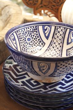 Blue moroccan bowl and plates.