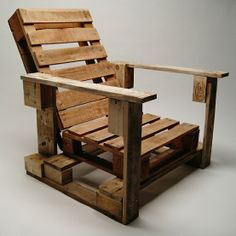 Upcycled wood pallet becomes a stylish outdoor garden chair. More pallet patio, gardening, DIY furniture ideas and inspiration at http://pinterest.com/wineinajug/passion-for-pallets/