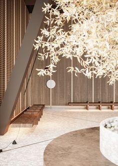 Lobby Interior, Interior Lighting, Japanese Tea House, Office Entrance, Spring Studios, Reception Design, Hotel Interiors, Business Centre, Hospitality Design