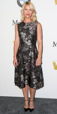 Claire Danes in a floral Dolce & Gabbana brocade dress with ankle-strap pumps for the occasion.