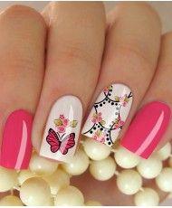 Películas ou Adesivos de Unhas Modelo Borboleta e Flores na Cor Rosa Fabulous Nails, All The Colors, Acrylic Nails, Hair Makeup, Nail Designs, Make Up, Nail Art, Beauty, Brittany