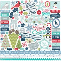 Echo Park - Keepin' Cozy Collection by Samantha Walker - Element Sticker Sheet Scrapbook Stickers, Scrapbook Paper Crafts, Scrapbook Supplies, Scrapbooking Layouts, Planner Stickers, Printable Stickers, Echo Park Paper, Snow Fun, Freebies