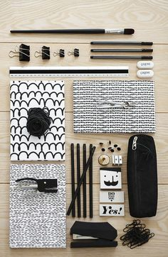 Black and white office supplies Back To School Supplies, Office Supplies, Art Supplies, Black And White Office, Black White, School Suplies, Cute Stationary, Stationary Supplies, Stationery Design