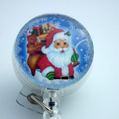 Santa with Bag of Toys Retractable ID Badge Holder- Belt Clip