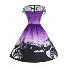 Halloween Mesh Insert Vintage A Line Dress