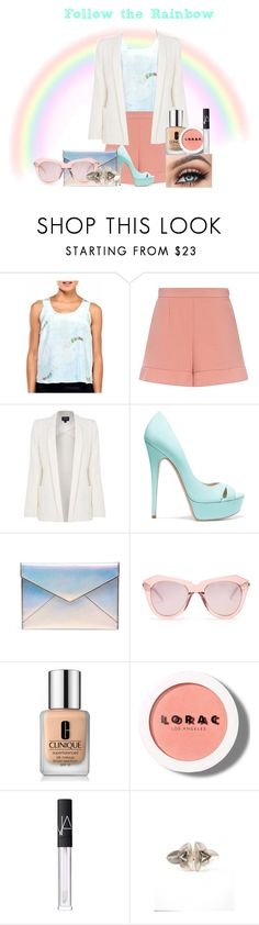 """Follow the rainbow"" by artteca ❤ liked on Polyvore featuring RED Valentino, Armani Jeans, Casadei, Rebecca Minkoff, Karen Walker, Clinique, LORAC, NARS Cosmetics and shorts"