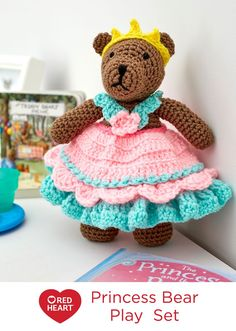 Princess Bear Play Set Stuffed Animal Toy Free Crochet Pattern in Red Heart Yarns -- In her pretty ruffled gown and brilliant crown, this bear is ready for hours of fantasy playtime. Crochet her as a gift and make a child feel special.