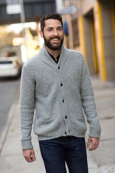There's something about a shawl collar sweater that we just find SO sexy on a man.