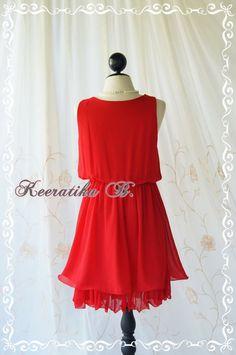 Keeratika B - vestido de coctel atractivo vestido rojo egipcio vestido rojo de Dama de honor vestido fiesta baile vestido Homecoming noche vestido cena aniversario