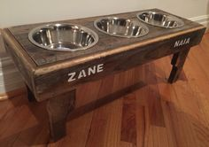 A personal favorite from my Etsy shop https://www.etsy.com/listing/278431500/reclaimed-pallet-dog-bowl-stand-rustic