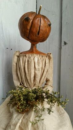 The Goode Wife of Washington County: Big Changes At The Wee Cottage ©2014 Stacey Mead Pumpkin Ladye Paperclay Art Doll Queen Anne Inspired