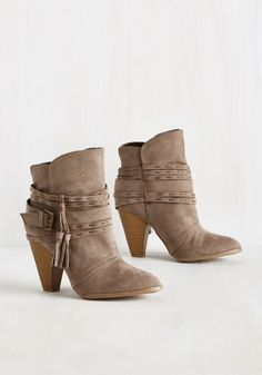 Quest of Times Bootie. Take a tour in these taupe booties and youll soon find that each jaunt is a joy! #grey #modcloth