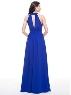A-Line/Princess Scoop Neck Floor-Length Ruffle Zipper Up Regular Straps Sleeveless No Royal Blue Spring Summer Fall General Plus Chiffon Bridesmaid Dress