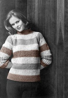 EASY - SUPER CHUNKY Jumper - to Fit size: 34 to 44 ins ( 86 to 112 cm) Bust - Knits up in a Wizz! Pattern  at www.yarnpassion.com