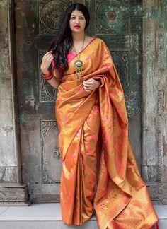 Buy indian saree online with the finest collection of indian saree. Order this savory art silk traditional designer saree for bridal and wedding Lehenga Style Saree, Saree Dress, Anarkali Suits, Tussar Silk Saree, Soft Silk Sarees, Indian Beauty Saree, Indian Sarees, Saris, Elegant Saree