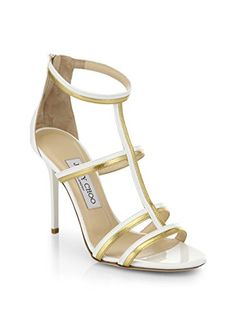 1ebd98993d0 Jimmy Choo Thistle WhiteGold Patent Metallic Nappa Sandals Size 12US     Visit the image link