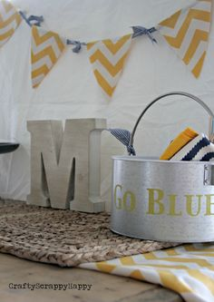Tailgating ideas with Crafty Scrappy Happy...like the monogram and the patterned pennant streamer
