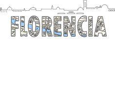 Silueta de skyline y Mapa de Florencia