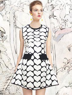Black Sleeveless Heart Pattern Dress - Fashion Clothing, Latest Street Fashion At Abaday.com