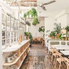"""Di An Di co-founder Kim Hoang describes the design of the Vietnamese restaurant in Greenpoint as """"Mom and Pop,"""" reclaiming the term as sexy and modern. White Restaurant, Deco Restaurant, Restaurant Concept, Restaurant Design, Organic Restaurant, Modern Restaurant, Cafe Interior Design, Coffee Shop Design, Shop Interiors"""