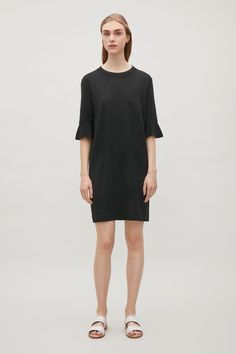 Indigo for me, Please ... COS image 1 of Flared sleeve dress in Black