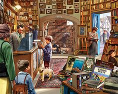 Old Book Store - 1000 Piece Jigsaw Puzzle by White Mountain Puzzles
