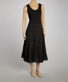 Love this Black Sleeveless Tiered Maxi Dress on #zulily! #zulilyfinds