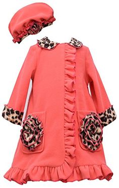 LITTLE GIRLS 4-6X Coral Leopard Trim Ruffle Pocket Fleece Coat/Hat Set, Coral, Bonnie Jean