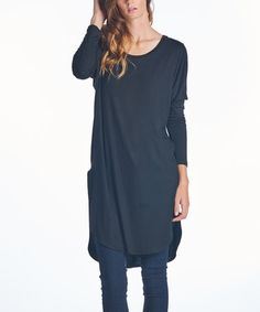 Another great find on #zulily! Black Pocketed Long-Sleeve Tunic - Women & Plus #zulilyfinds