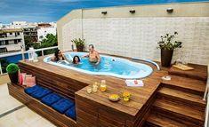 piscina imbe branca com deck de madeira area lazer #decoracioncocinaspequeñas
