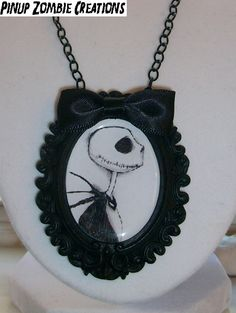 Pinup Zombie Creations | NIGHTMARE BEFORE CHRISTMAS JACK SKELLINGTON Cameo Necklace (black and white) | Online Store Powered by Storenvy