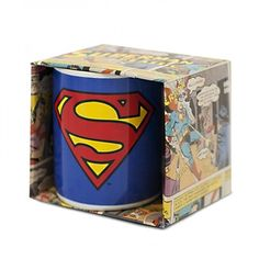 Classic blue Superman mug featuring the red and yellow 'S' symbol on both sides.
